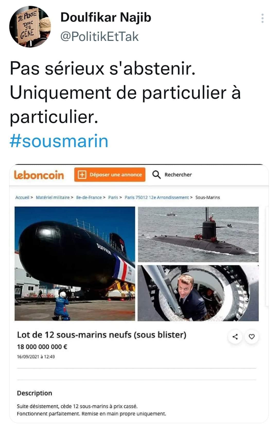 la ptite blague matinale...des sous-marins sous blister .... afin de pointer les autres affaires du bon coin.